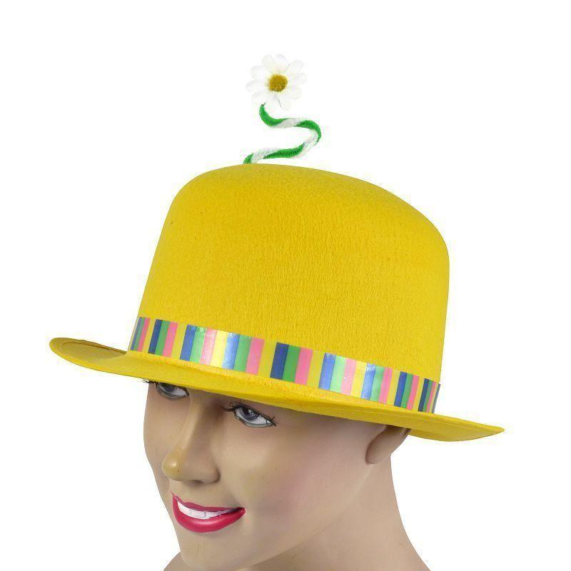Clown Bowler Yellow + Flower |Hats| Unisex One Size - Hats Mad Fancy Dress