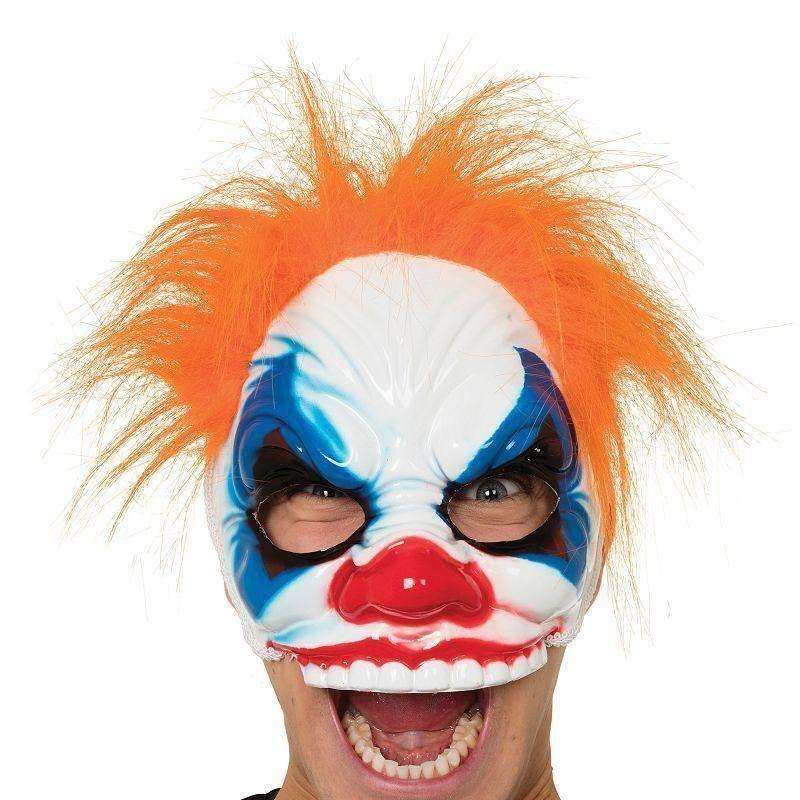 Clown Half Face |Glasses Frame| Mask With Hair |Eye Masks| Male One Size - Eye Masks Mad Fancy Dress
