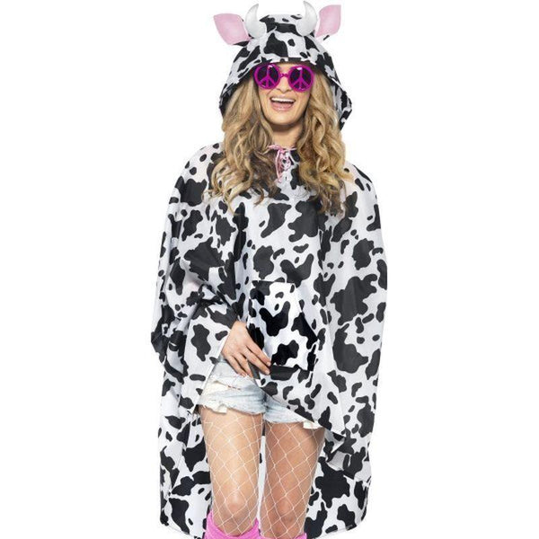 Cow Party Poncho Adult White/black - Adult Animal Mad Fancy Dress
