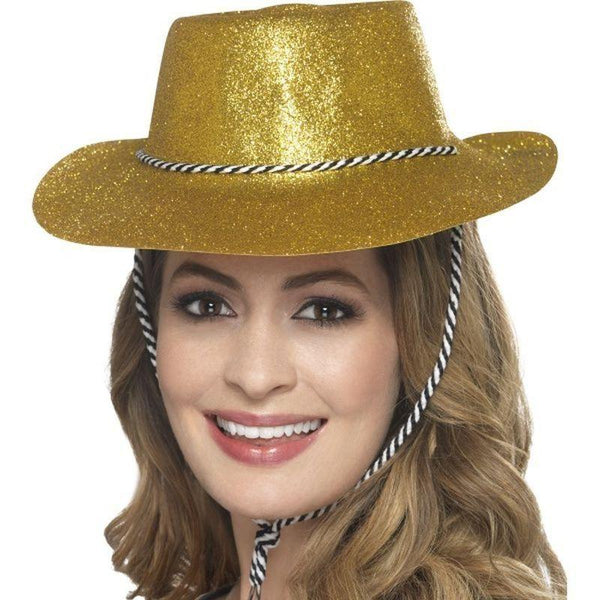 Cowboy Glitter Hat Adult Gold - Party & Carnival Mad Fancy Dress