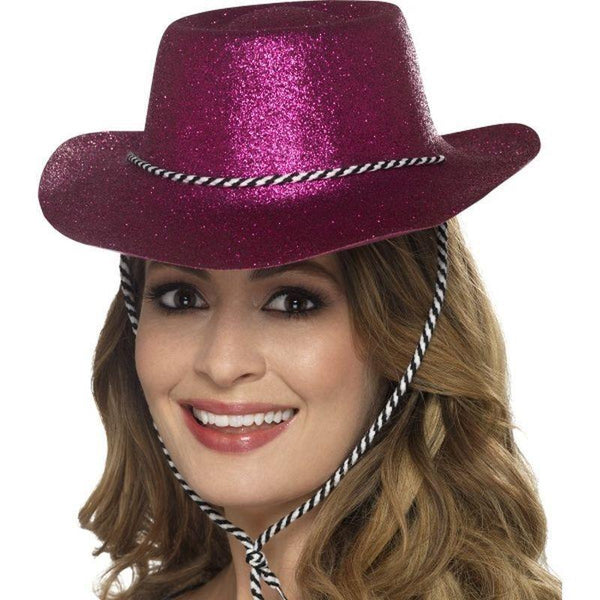 Cowboy Glitter Hat Adult Pink - Party & Carnival Mad Fancy Dress
