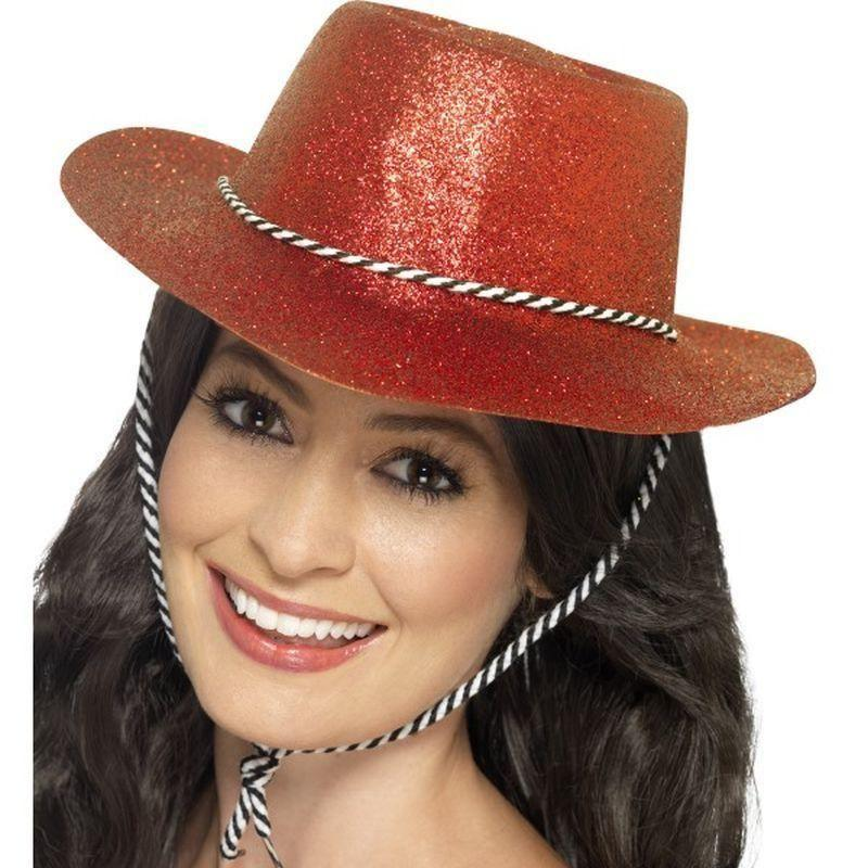 Cowboy Glitter Hat Adult Red - Cowboys & Indians Mad Fancy Dress