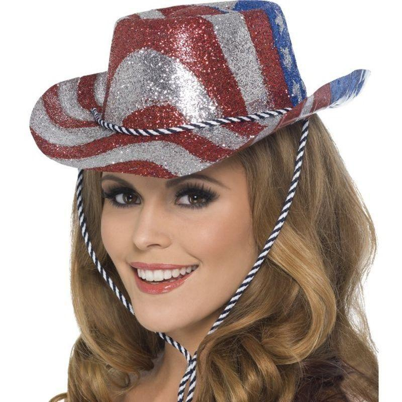 Cowboy Glitter Hat Stars & Stripes Adult Red/silver - Cowboys & Indians Mad Fancy Dress