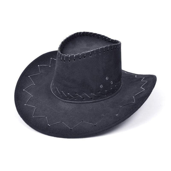 Cowboy Hat Stitched Black |Hats| Unisex One Size - Hats Mad Fancy Dress