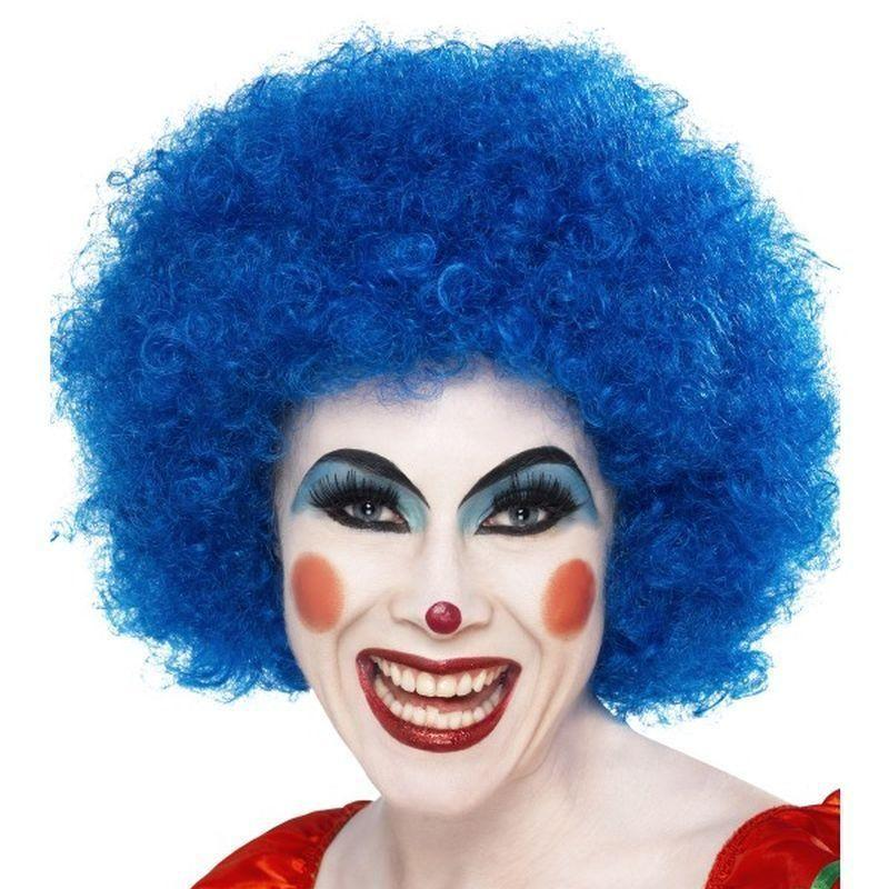 Crazy Clown Wig Adult Blue - Smiffys Wigs Mad Fancy Dress