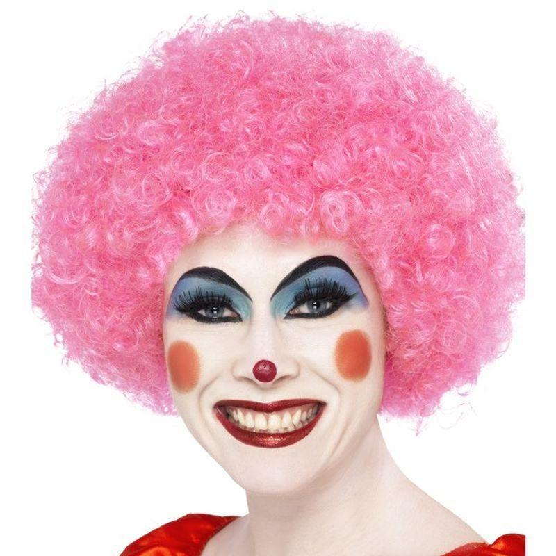 Crazy Clown Wig Adult Pink - Smiffys Wigs Mad Fancy Dress