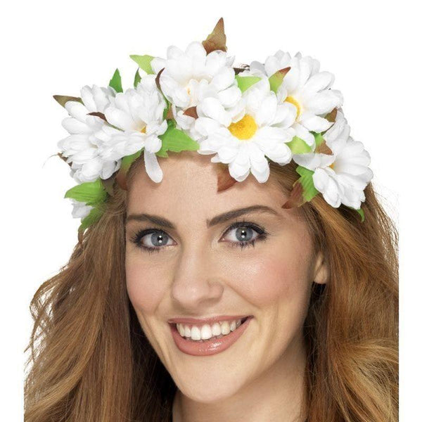 Daisy Floral Headband Adult White - 60S Groovy Mad Fancy Dress