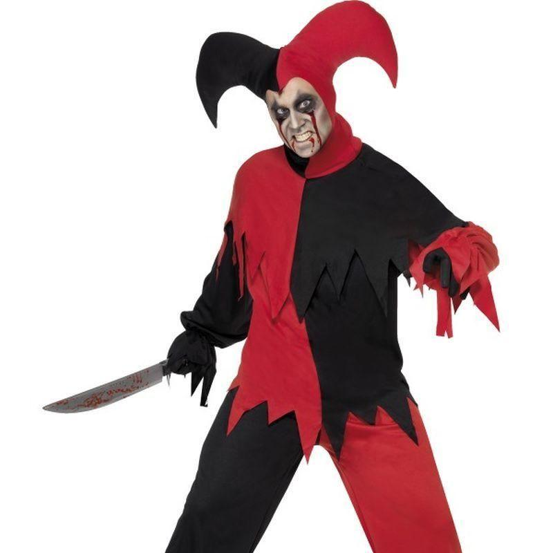 Dark Jester Costume Adult Red/black - Comedy & Clown Mad Fancy Dress