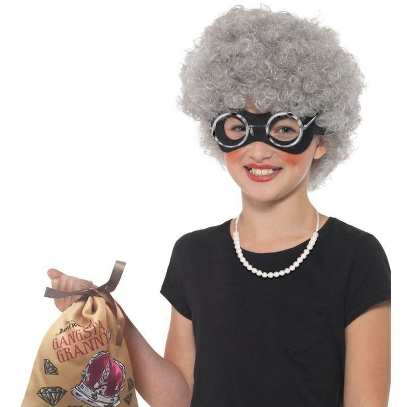 David Walliams Deluxe Gangsta Granny Instant Kit Kids Grey - Girls Costumes Mad Fancy Dress