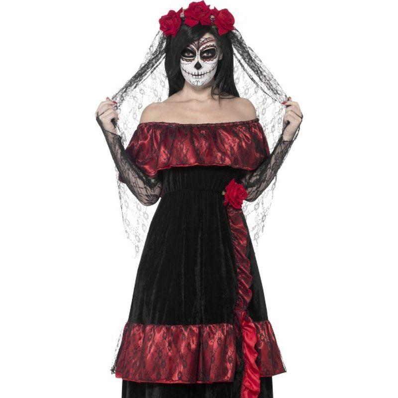 Day Of The Dead Bride Costume Adult Red/black - Halloween Costumes & Accessories Mad Fancy Dress