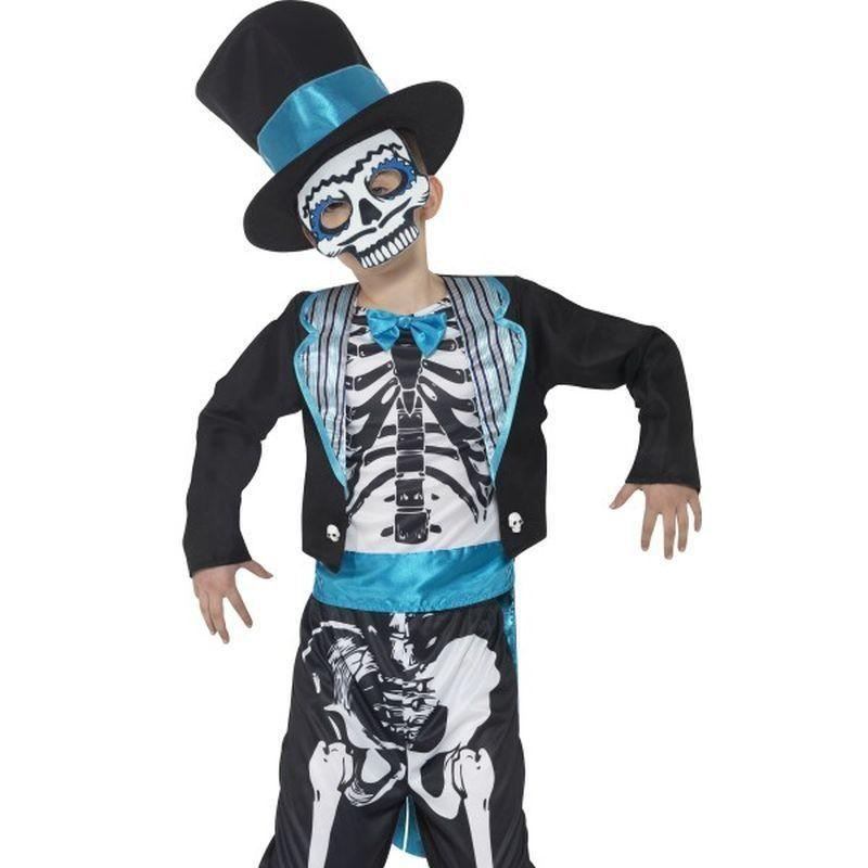 Day Of The Dead Groom Costume Kids Black - Around The World Mad Fancy Dress
