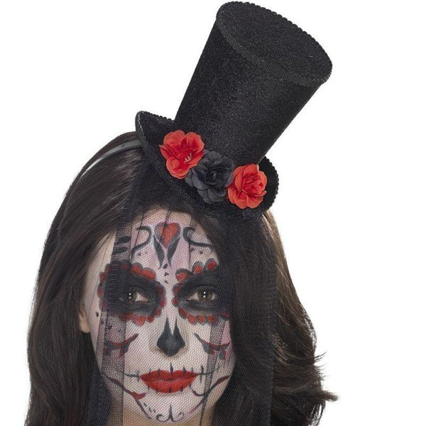 Day Of The Dead Mini Top Hat Adult Black - Mexican Day Of The Dead/sugar Skulls Mad Fancy Dress