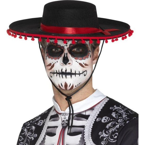 Day Of The Dead Senor Hat Adult Black/red - Mexican Day Of The Dead/sugar Skulls Mad Fancy Dress