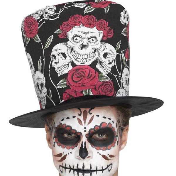 Day Of The Dead Skull & Rose Top Hat Adult Multi - Mexican Day Of The Dead/sugar Skulls Mad Fancy Dress