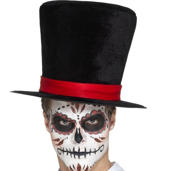Day Of The Dead Top Hat Adult Black - Mexican Day Of The Dead/sugar Skulls Mad Fancy Dress