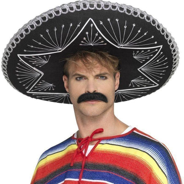 Deluxe Authentic Sombrero Adult Black - Cowboys & Indians Mad Fancy Dress