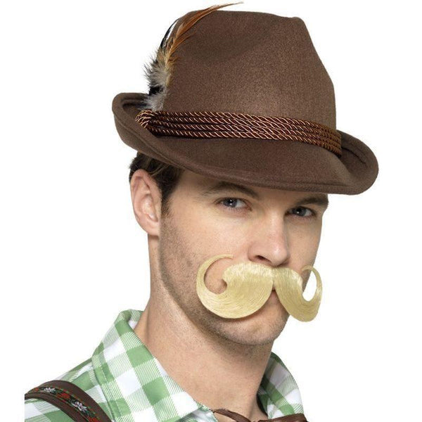 Deluxe Bavarian Trenker Hat Adult Brown - Oktoberfest Fancy Dress Mad Fancy Dress