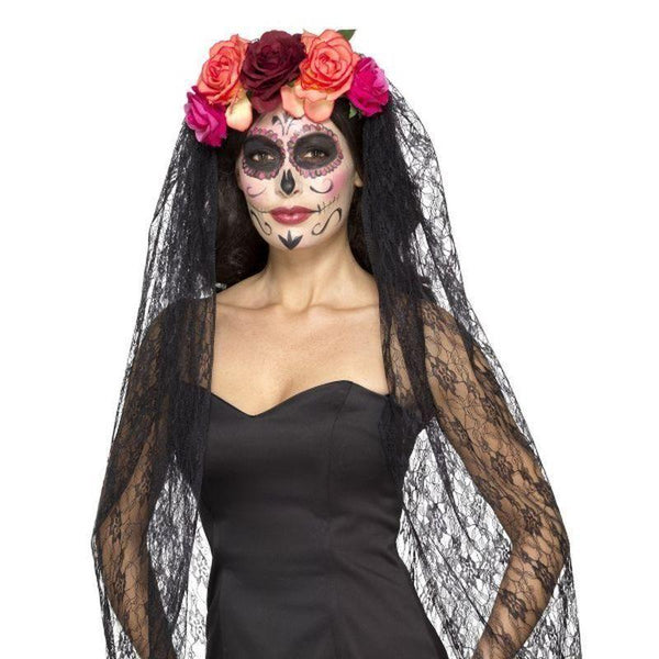 Deluxe Day Of The Dead Headband Adult Red/black - Mexican Day Of The Dead/sugar Skulls Mad Fancy Dress