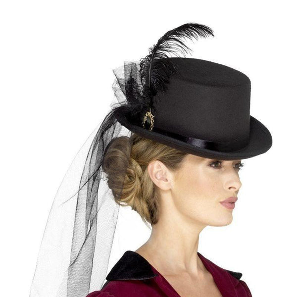 Deluxe Ladies Victorian Top Hat Adult Black - Historical Fancy Dress Mad Fancy Dress