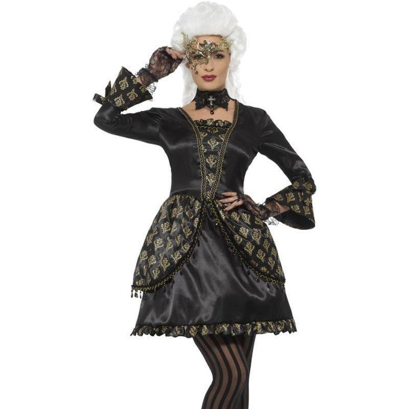 Deluxe Masquerade Costume Adult Black/gold - Around The World Mad Fancy Dress