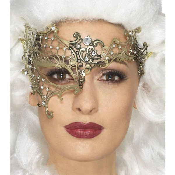 Deluxe Metal Filigree Half Eyemask Adult Gold - Halloween Costumes & Accessories Mad Fancy Dress