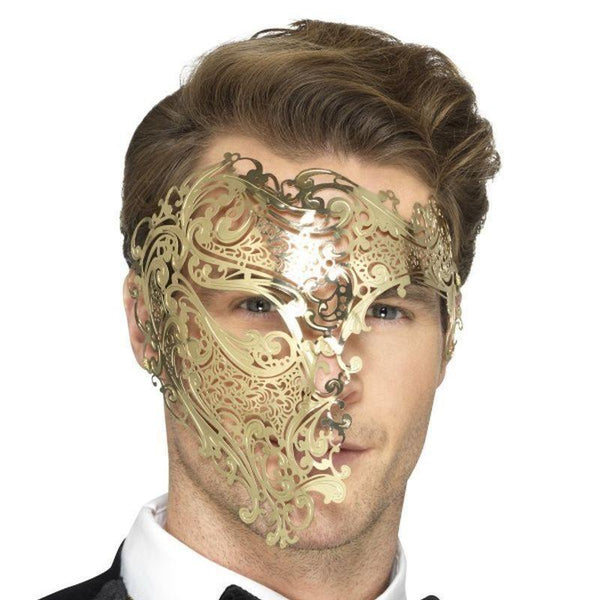 Deluxe Metal Filigree Phantom Mask Adult Gold - Halloween Costumes & Accessories Mad Fancy Dress