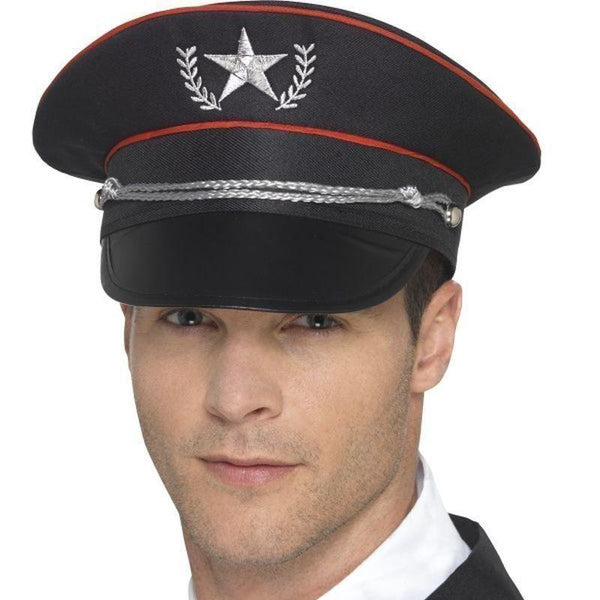 Deluxe Military Hat Adult Black - Land Sea & Air Forces Mad Fancy Dress