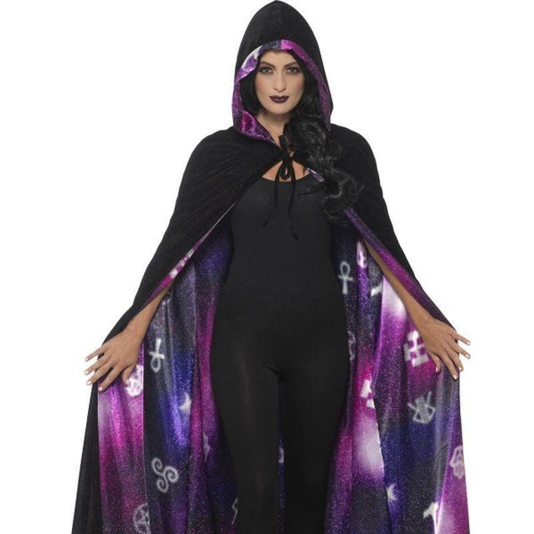 Deluxe Reversible Galaxy Ouija Cape Adult Black/purple - Halloween Costumes & Accessories Mad Fancy Dress