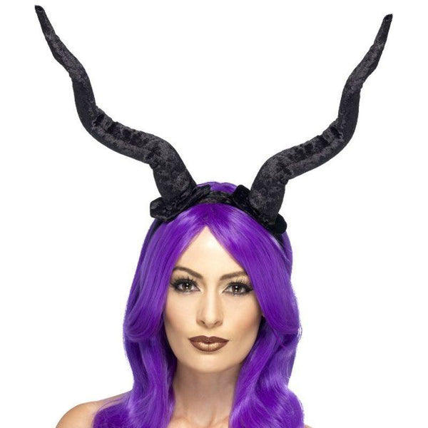 Demon Horns Headband Adult Black - Halloween Costumes & Accessories Mad Fancy Dress