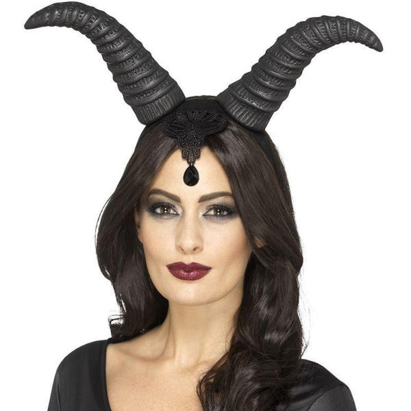 Demonic Queen Horns On Headband Adult Black - Halloween Costumes & Accessories Mad Fancy Dress