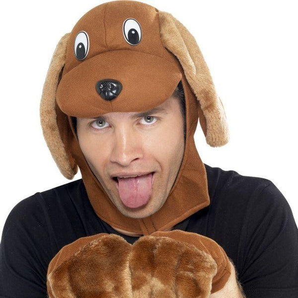 Dog Hood & Gloves Adult Brown - Adult Animal Mad Fancy Dress