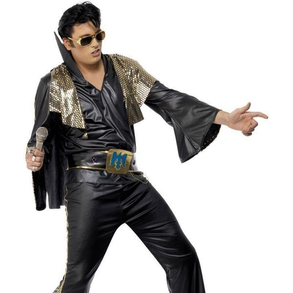 Elvis Costume Adult Black - Elvis Presley Licensed Fancy Dress Mad Fancy Dress