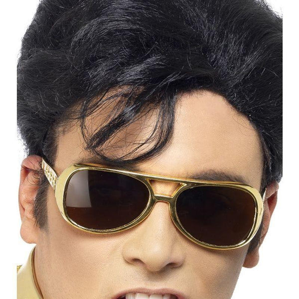 Elvis Shades Adult Gold - Elvis Presley Licensed Fancy Dress Mad Fancy Dress
