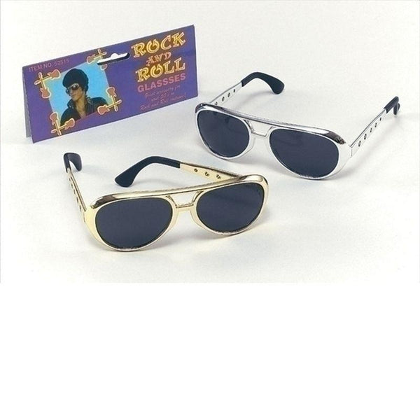Elvis Sunglasses Gold |Costume Accessories| Unisex One Size - Costume Accessories Mad Fancy Dress