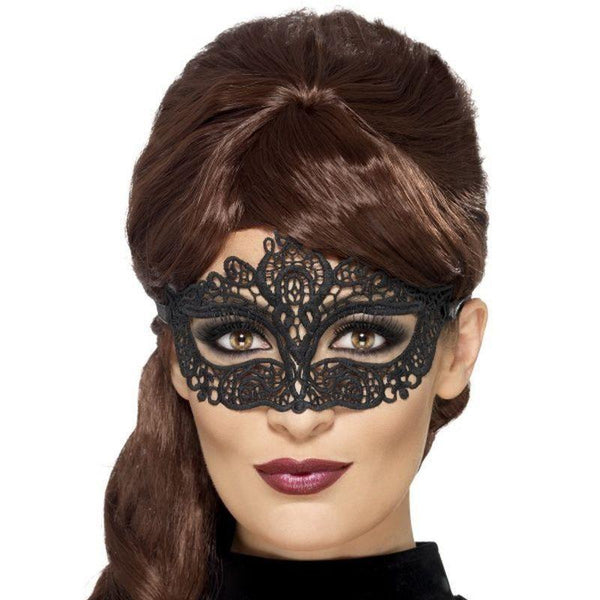 Embroidered Lace Filigree Eyemask Adult Black - Eyemasks Mad Fancy Dress