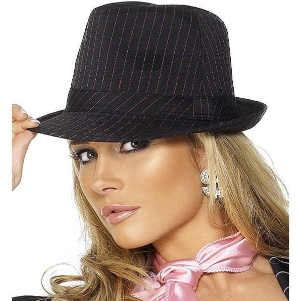 Fever Gangster Trilby Hat Adult Black - 20S Razzle Mad Fancy Dress