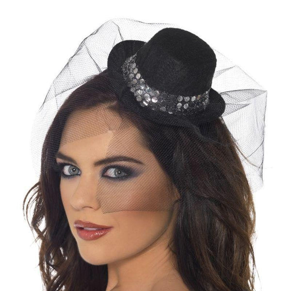 Fever Mini Top Hat On Headband Adult Black - Fever Mad Fancy Dress