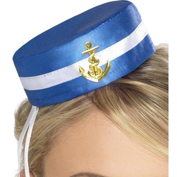 Fever Pill Box Sailor Hat Adult Blue - Fever Mad Fancy Dress