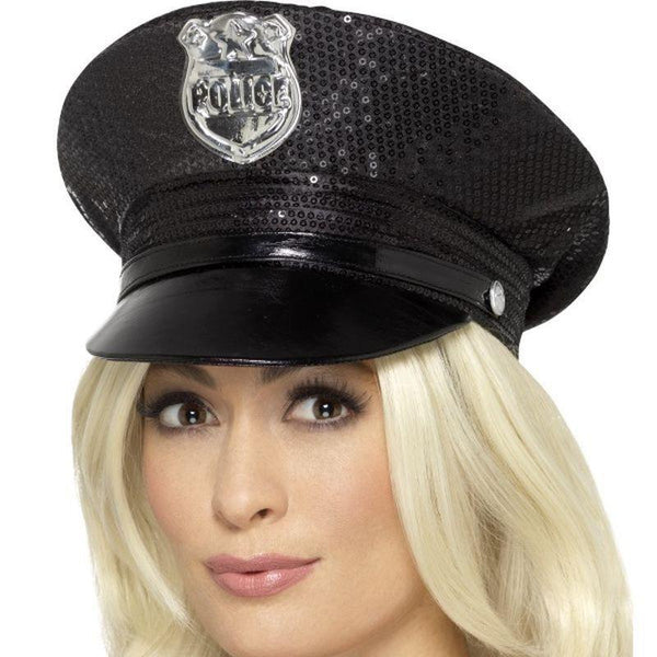 Fever Sequin Police Hat Adult Black - Fever Mad Fancy Dress
