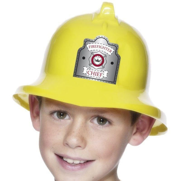 Fireman Hat Kids Yellow - Boys Costumes Mad Fancy Dress