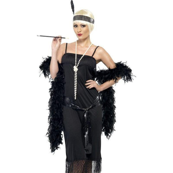 Flapper Costume Adult Black - 20S Razzle Mad Fancy Dress