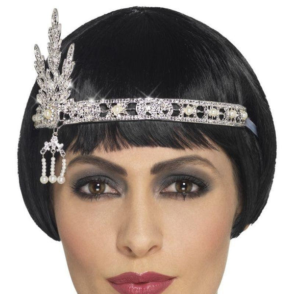 Flapper Jewel Headband Adult Silver - 20S Razzle Mad Fancy Dress