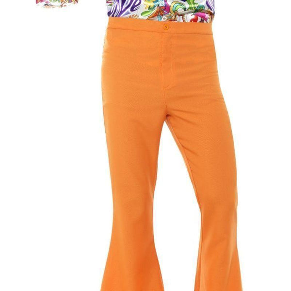 Flared Trousers Mens Adult Orange - 60S Groovy Mad Fancy Dress