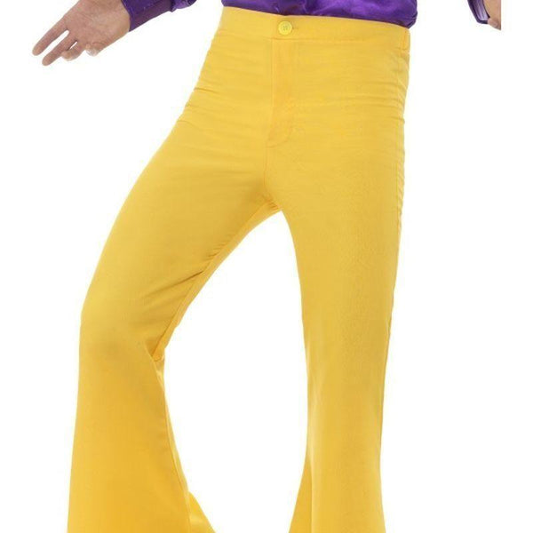 Flared Trousers Mens Adult Yellow - 60S Groovy Mad Fancy Dress