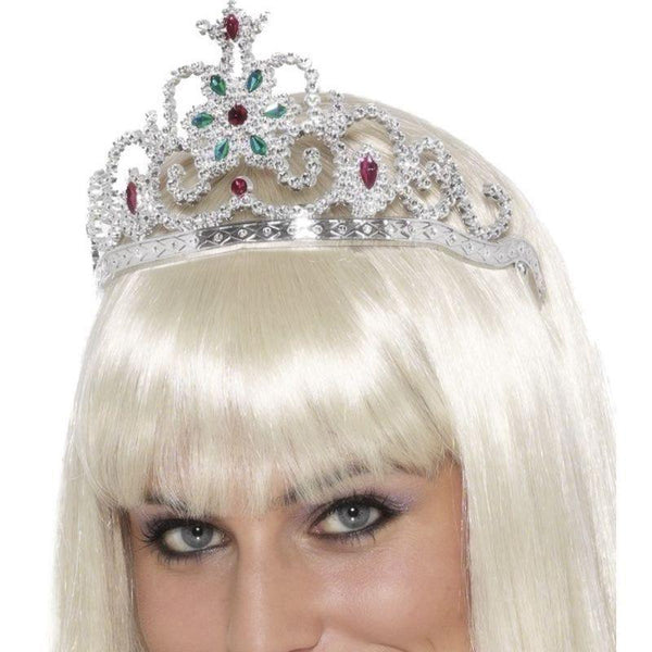 Flower Jewelled Tiara Adult Silver - Faries Wings & Wands Mad Fancy Dress