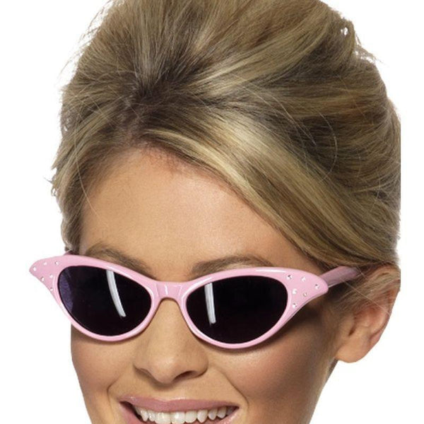 Flyaway Style Rock & Roll Sunglasses Adult Pink - 50S Rocknroll Mad Fancy Dress