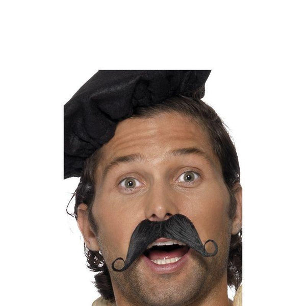 Frenchman Moustache Adult Black - Around The World Mad Fancy Dress