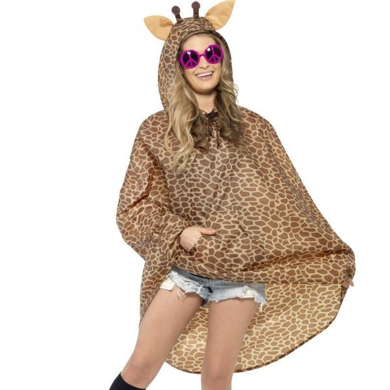 Giraffe Party Poncho Adult Orange/black - Adult Animal Mad Fancy Dress