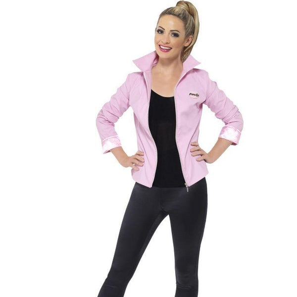 Grease Deluxe Pink Ladies Jacket Adult Pink - Grease Licensed Fancy Dress Mad Fancy Dress