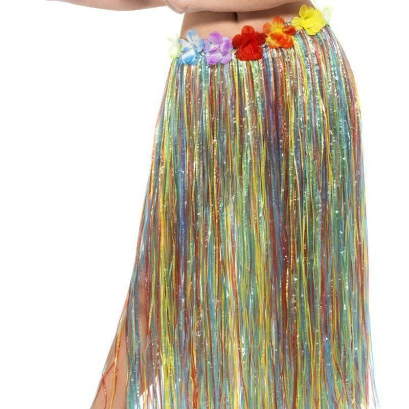 Hawaiian Hula Skirt With Flowers Adult Multi - Hawaiian Luua Mad Fancy Dress